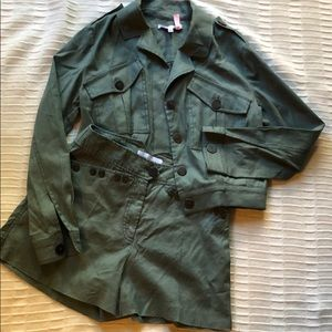 Green jacket and short Set